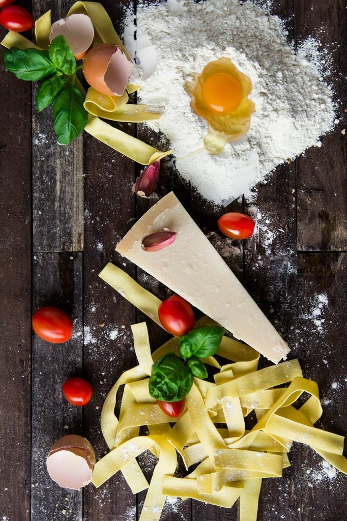 pasta, cheese, egg